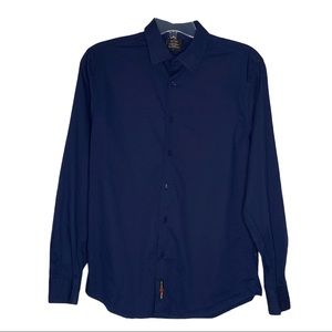 WT02 Shirt Size Large Blue Long Sleeve Button Up
